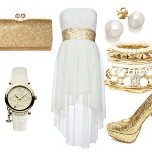 a3qlmy-l-610x610-dress-white-gold-hi-low-strapless-white-dress-gold-sequins-hi-low-dress-jewels-bag-shoes