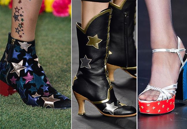 сапоги черные со звездами на каблуке среднем