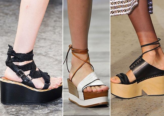 обувь на платформе 2015 черные сандалии