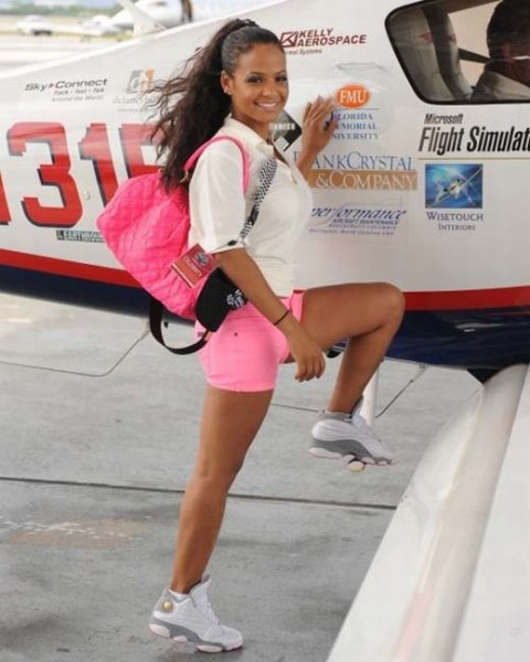 Christina-Milian-in-Air-Jordan-XIII-White-Grey-Pink