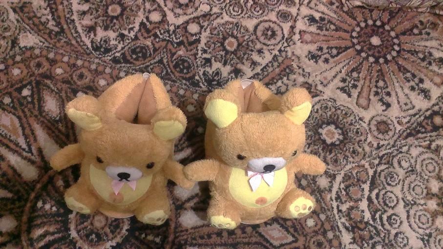 тапочки медведи удобные теплые девочки на фото оранжевые