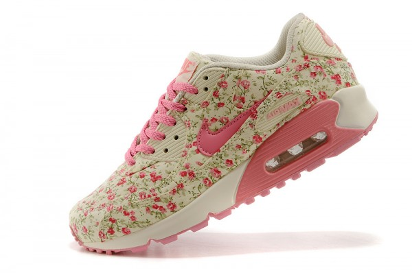 Nike_Air_Max_90_Floral_Print_Womens_Running_Shoes_Peach_Flower_01