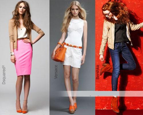 Оранжевые туфли: сочетания