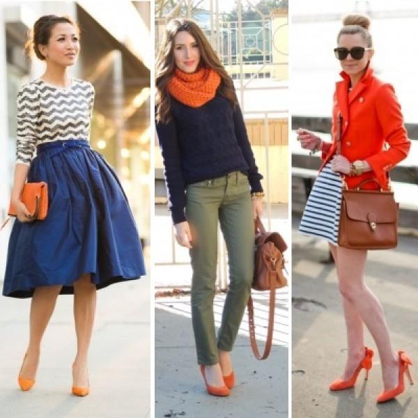 Что одеть к оранжевым туфлям