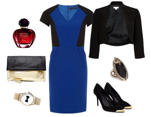 С чем носить синие туфли и синее платье