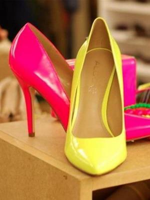 туфли лодочки желтые розовые лаковые