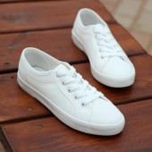 Plain-all-match-lacing-low-flat-shoes-white-shoes-female-canvas-shoes