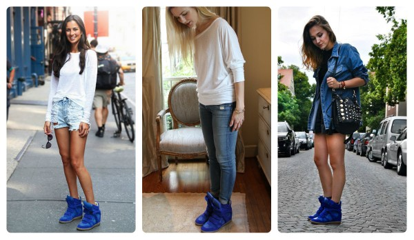 collage isabel marant sneakers blue