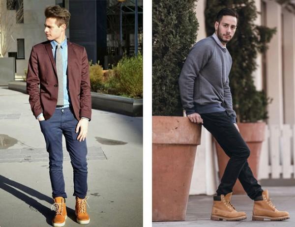 Узкие брюки и тимберленды