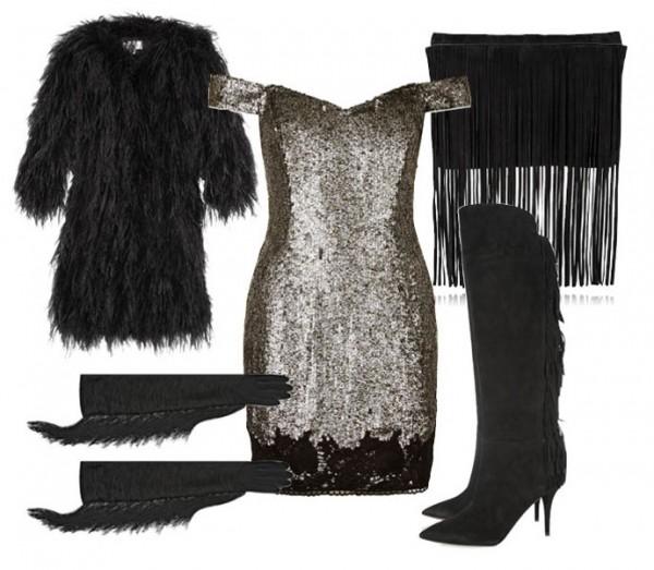 Вечернее платье с парой простых сапог