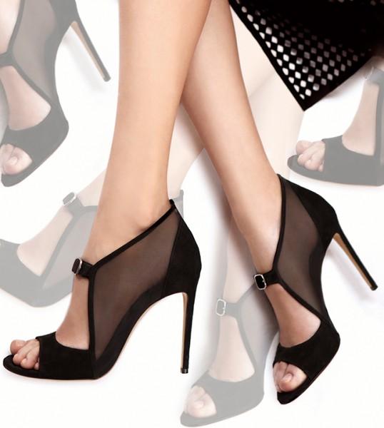 Туфли из замши и сетки