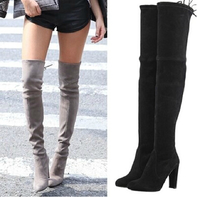 Gray-Black-Chunky-Heel-Suede-Leather-Thigh-High-Boots-Women-Over-The-Knee-Hot-Sell-2014