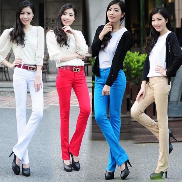 Новинка-2015-белый-воротник-цвет-немного-стрейч-расширяющиеся-брюки-Большой-размер-хлопок-конфеты-цвет-джинсовые-женские