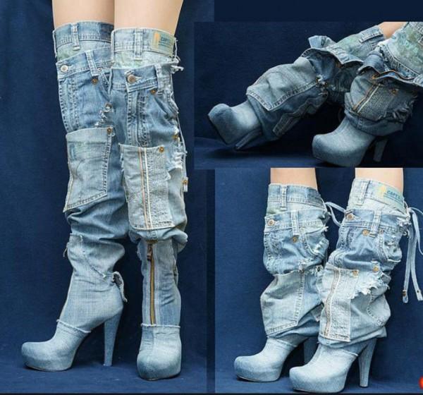 Джинсовые высокие сапоги на высоком каблуке или ботфорты